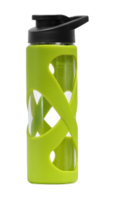 Image of Glass Water Bottle 17 oz Green